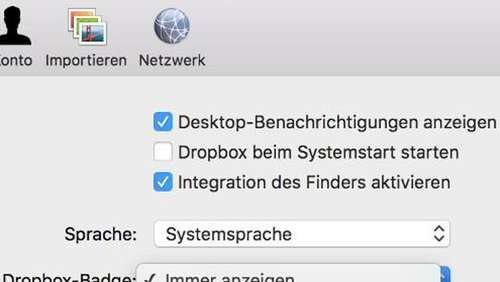 Dropbox-Symbol in Office entfernen