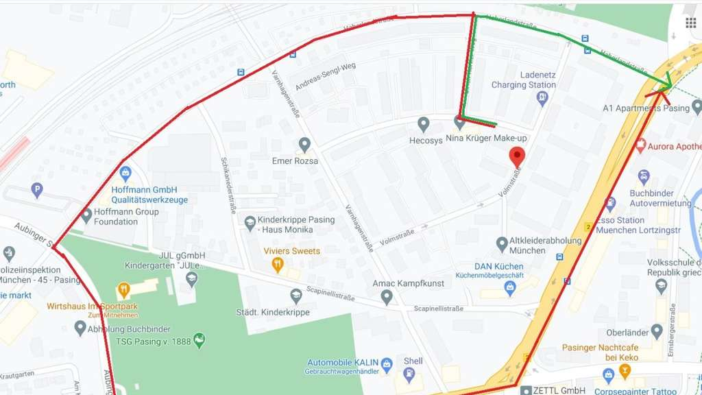 Google Maps Rote Linie